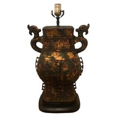 Chinese Bronze Hu Form Vessel as a Lamp