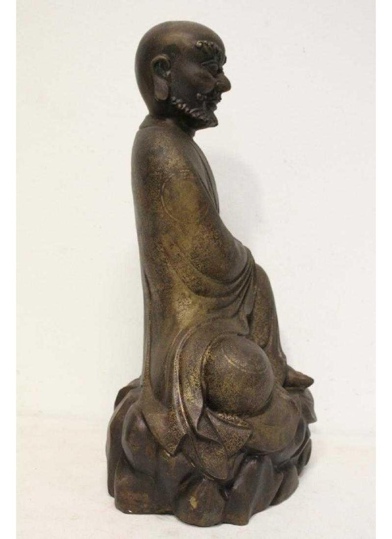Chinese Bronze Seated Lohan In Good Condition For Sale In Cypress, CA