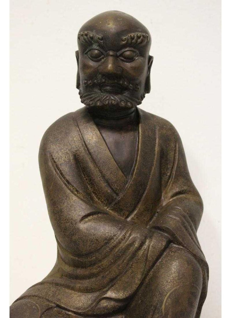 Chinese Bronze Seated Lohan For Sale 1