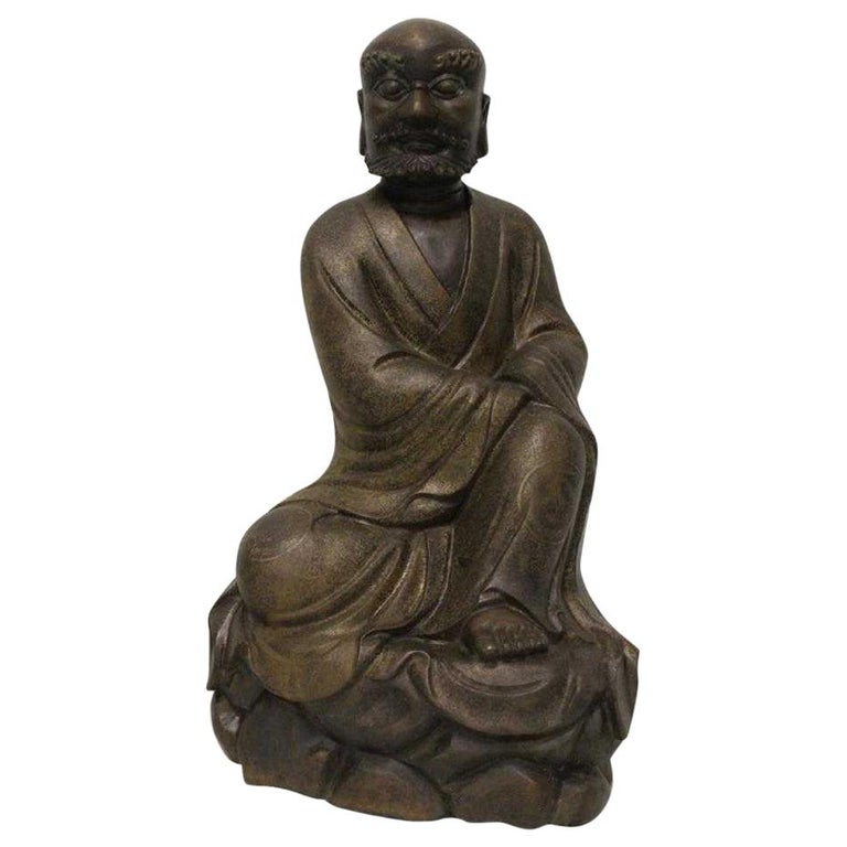 Chinese Bronze Seated Lohan For Sale