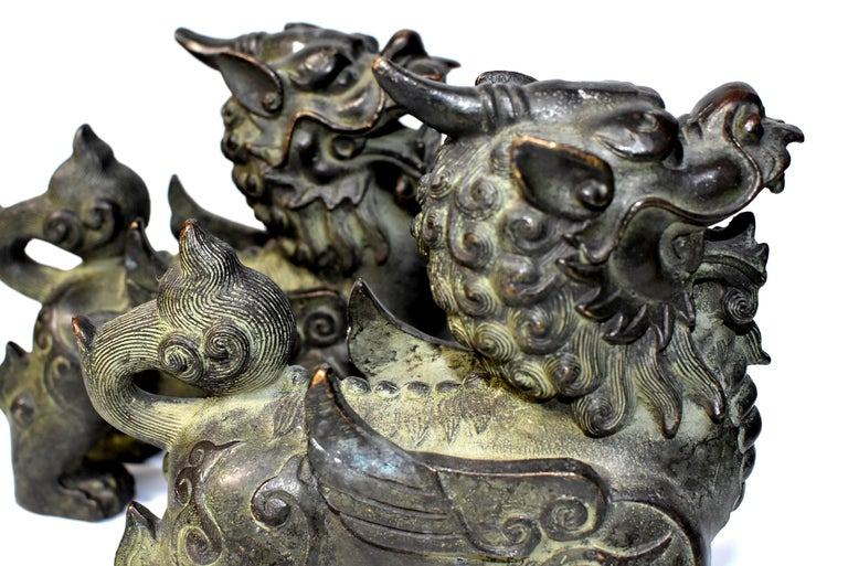 Chinese Bronze Statues Pi Xiu Lions, Pair For Sale 9