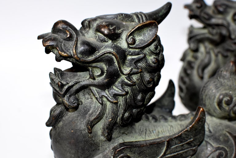 Chinese Bronze Statues Pi Xiu Lions, Pair For Sale 14