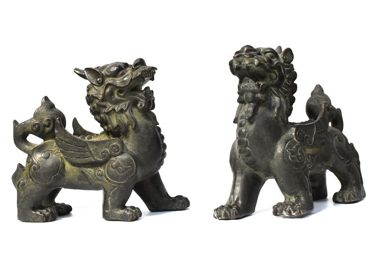 Chinese Bronze Statues Pi Xiu Lions, Pair For Sale 1
