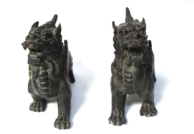 Chinese Bronze Statues Pi Xiu Lions, Pair For Sale 2