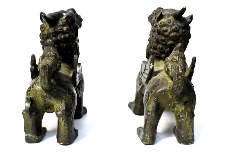 Chinese Bronze Statues Pi Xiu Lions, Pair For Sale 4