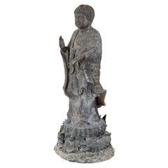 Chinese Style Bronzed Metal Standing Buddha with Verdigris Patina