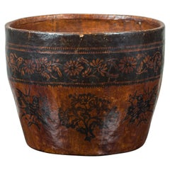 Chinese Brown and Black Papier-Mâché Basket with Floral Frieze and Bird Motifs