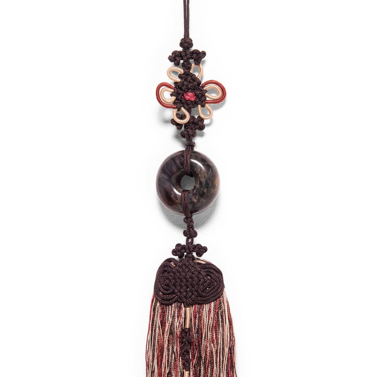 Chinese Brown Silk Tassel with Dark Jade Ring In Good Condition For Sale In Chicago, IL