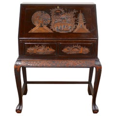 Chinese Bureau Carved Writing Desk