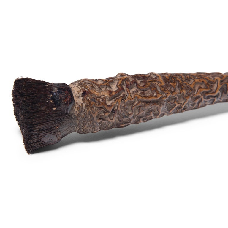 Qing Chinese Burl Wood Calligraphy Brush, circa 1850 For Sale