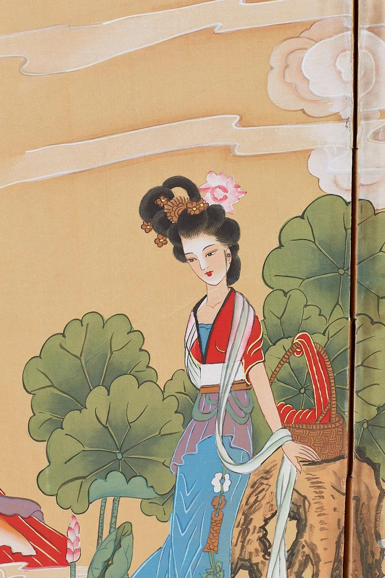 Chinese Byobu Style Screen Four Celestial Beauties For Sale 4