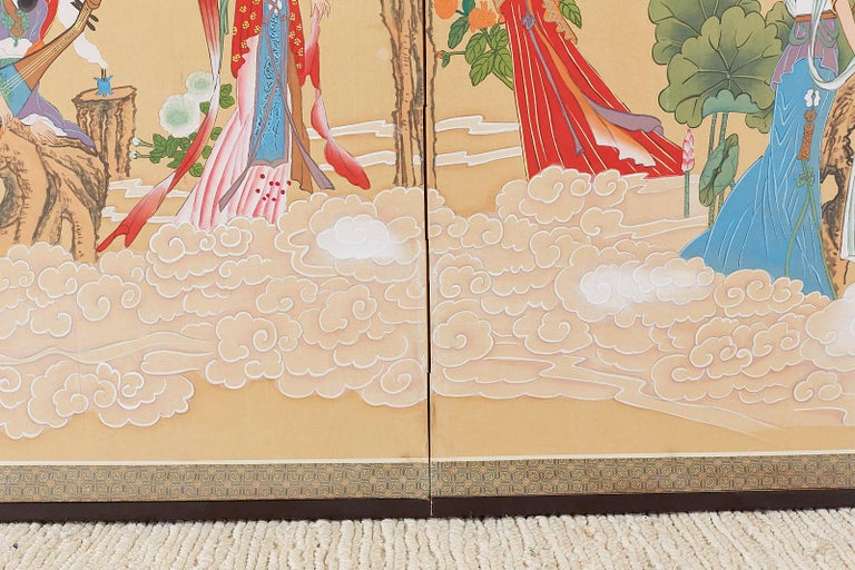 Chinese Byobu Style Screen Four Celestial Beauties For Sale 6