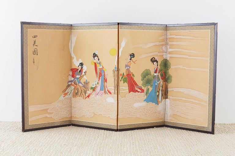 Chinese Byobu Style Screen Four Celestial Beauties For Sale 7