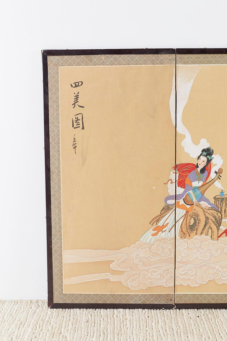 Mid-Century Modern Chinese Byobu Style Screen Four Celestial Beauties For Sale