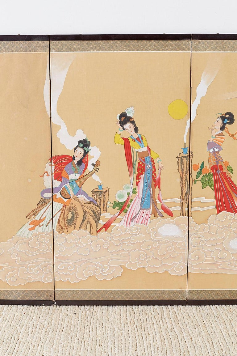 Chinese Byobu Style Screen Four Celestial Beauties In Fair Condition For Sale In Oakland, CA