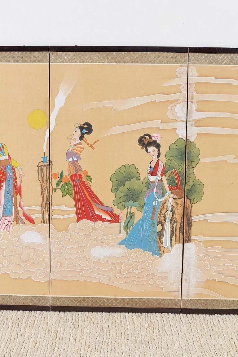 20th Century Chinese Byobu Style Screen Four Celestial Beauties For Sale