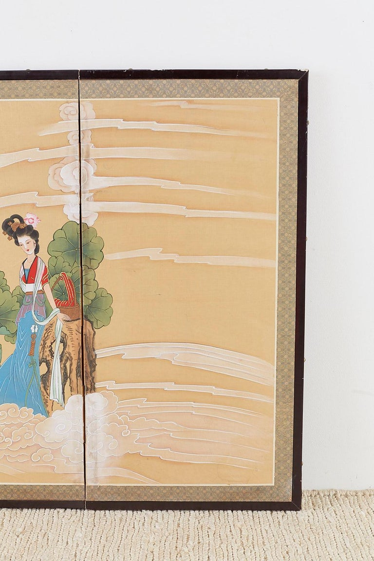 Silk Chinese Byobu Style Screen Four Celestial Beauties For Sale