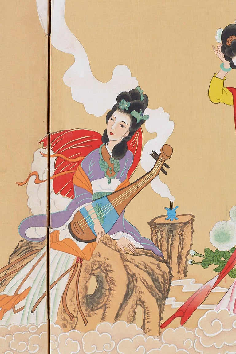 Chinese Byobu Style Screen Four Celestial Beauties For Sale 1