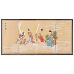 Chinese Byobu Style Screen Four Celestial Beauties