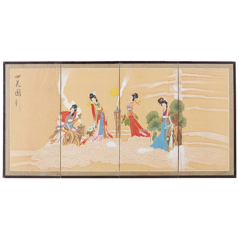 Chinese Byobu Style Screen Four Celestial Beauties For Sale
