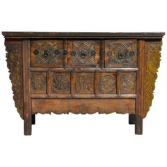 "Chinese Cabinet with Three Drawers and ""Five Seasons"" Carving"