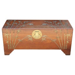 Chinese Camphor Chest with Brass Bamboo Details Attributed to Jimmy Choy
