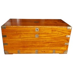 Chinese Camphor Wood Hinged and Brass Mounted Traveling Trunk, Circa 1820