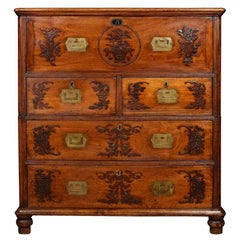 Chinese Camphor Wood Secrétaire Campaign Chest
