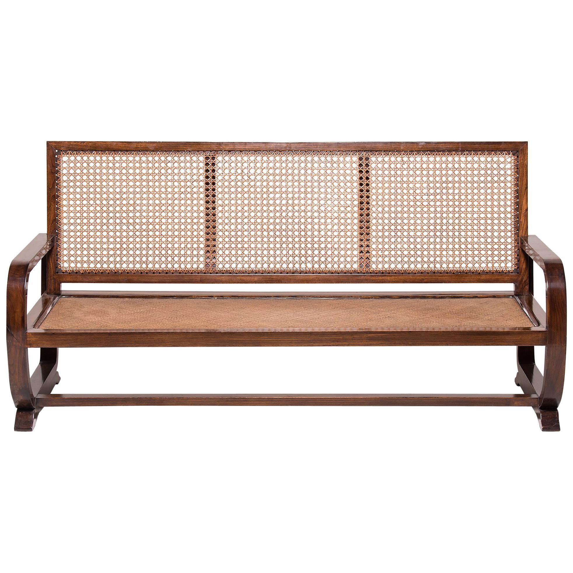 Chinese Caned Three-Seat Sofa