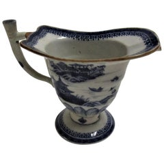 Chinese Canton Blue and White Porcelain Helmet Shaped Creamer