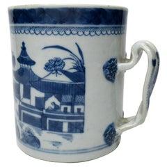 Chinese Canton Porcelain Blue White Cantonese Tankard Mug Quianlong 18th Century