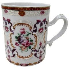 Chinese Canton Porcelain Famille Rose Blue White Tankard Mug Qianlong
