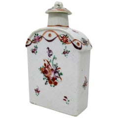 Chinese Canton Porcelain Famille Rose Dome Top Enameled Tea Caddy Qianlong 18 Ct