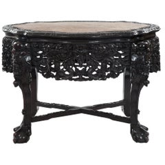 Chinese Captured-Top Carved Rosewood Marble Table