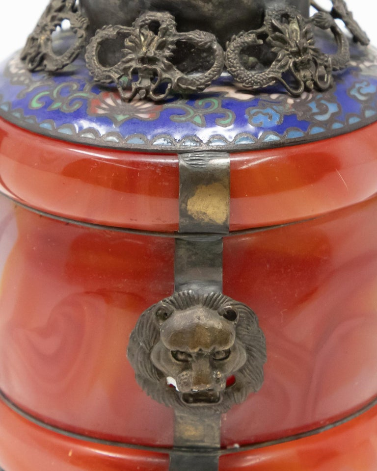 Chinese Carnelian and Enamel with Bronze Filigree Teapot For Sale 4