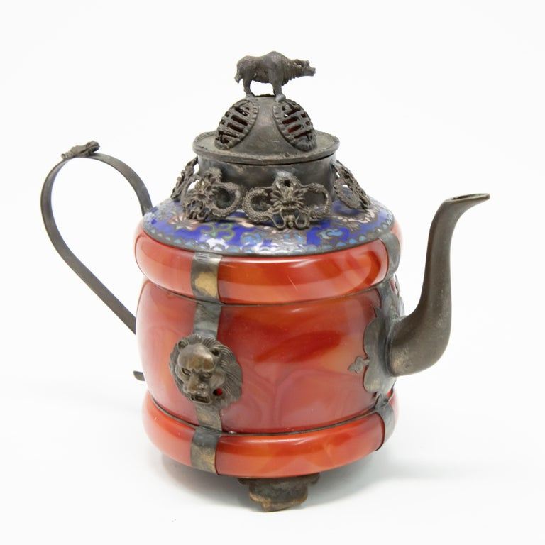 Chinese Carnelian and Enamel with Bronze Filigree Teapot In Fair Condition For Sale In Cookeville, TN