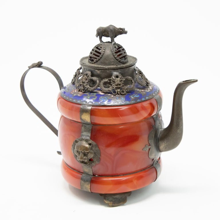20th Century Chinese Carnelian and Enamel with Bronze Filigree Teapot For Sale