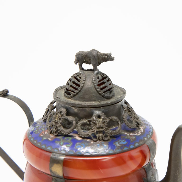 Chinese Carnelian and Enamel with Bronze Filigree Teapot For Sale 1