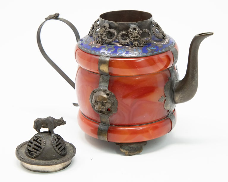 Chinese Carnelian and Enamel with Bronze Filigree Teapot For Sale 2