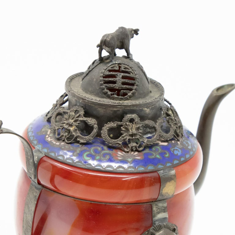 Chinese Carnelian and Enamel with Bronze Filigree Teapot For Sale 3