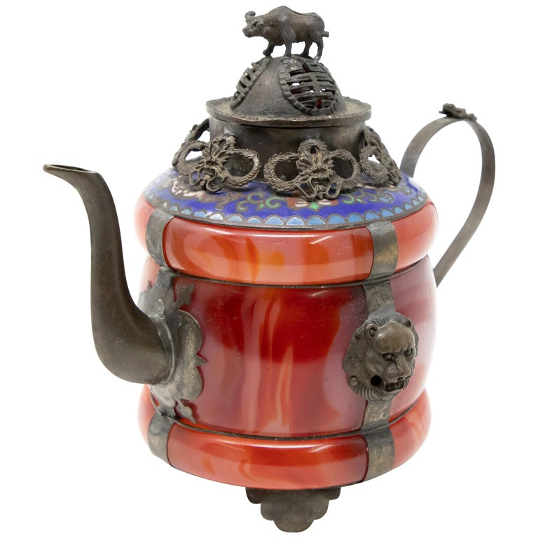 Chinese Carnelian and Enamel with Bronze Filigree Teapot For Sale