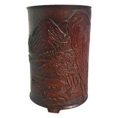 Chinese Carved Bamboo Brushpot, Bitong, 17th Century