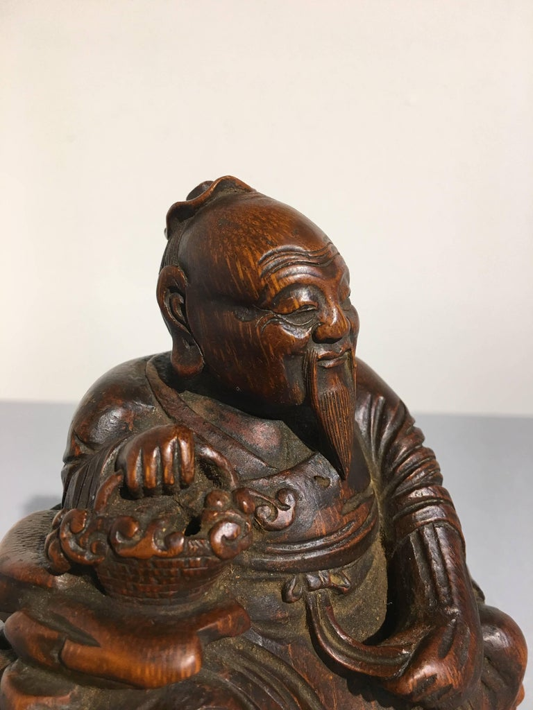 Chinese Carved Bamboo Figure of a Sage, Qing Dynasty, 18th Century For Sale 2