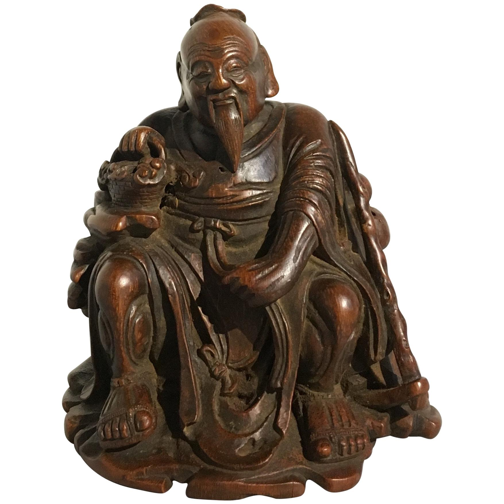 Chinese Carved Bamboo Figure of a Sage, Qing Dynasty, 18th Century