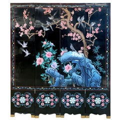 Chinese Carved Black Lacquered Four-Panel Screen Room Divider