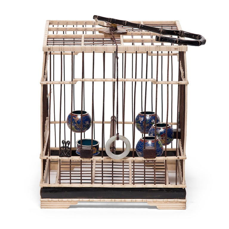 Qing Chinese Carved Bone Bird Cage with Cloisonné Waterpots, circa 1850 For Sale