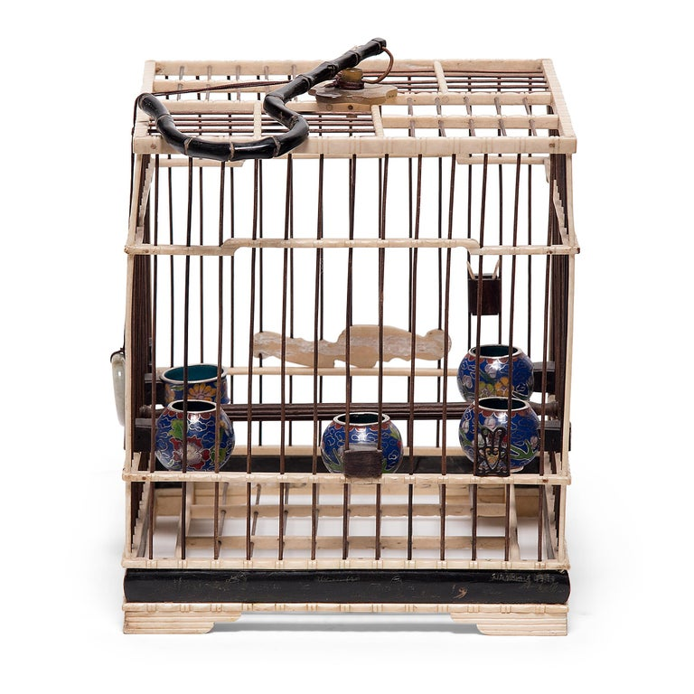 Chinese Carved Bone Bird Cage with Cloisonné Waterpots, circa 1850 In Good Condition For Sale In Chicago, IL