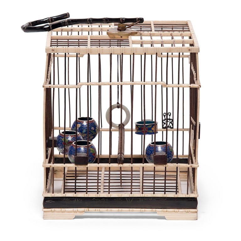 19th Century Chinese Carved Bone Bird Cage with Cloisonné Waterpots, circa 1850 For Sale