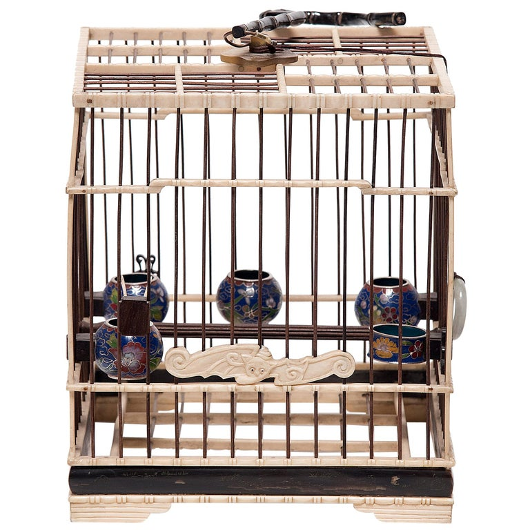 Chinese Carved Bone Bird Cage with Cloisonné Waterpots, circa 1850 For Sale