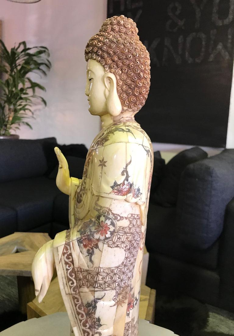 Chinese Carved Bone Figure Sculpture Of Standing Buddha For Sale At